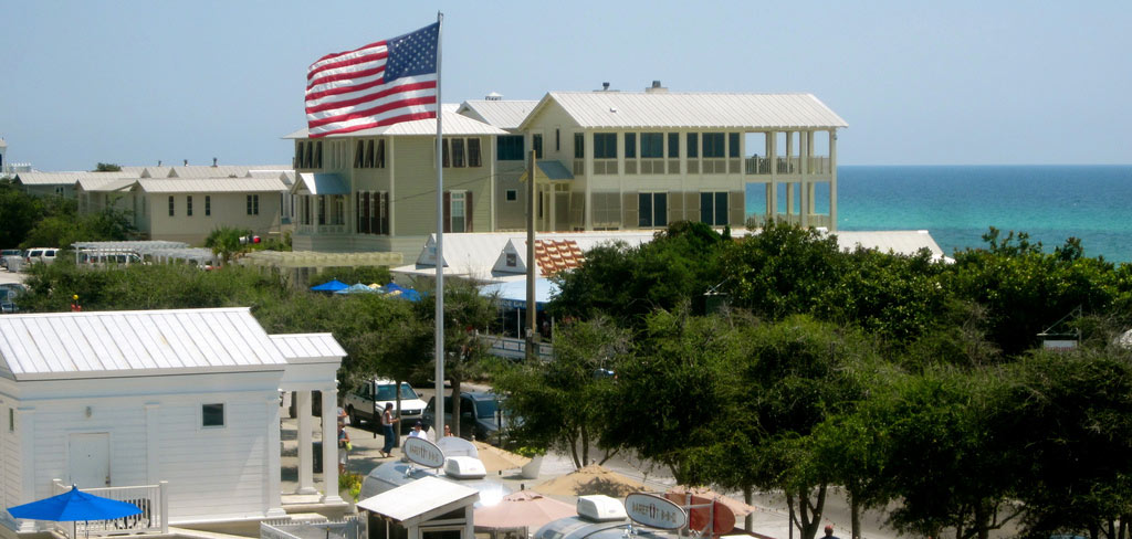 A photo of beautiful Seaside, Florida, showing the town and the water
