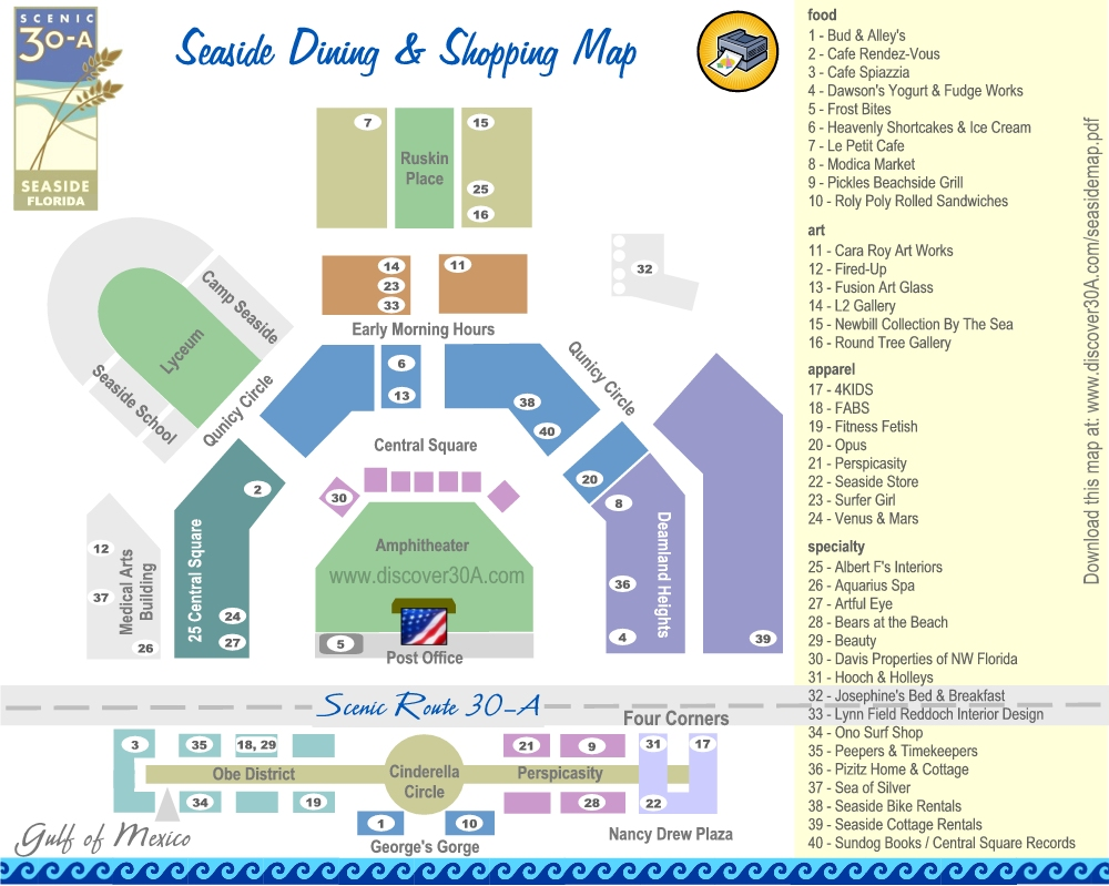 Seaside Dining and Shopping Map | Discover 30A Florida