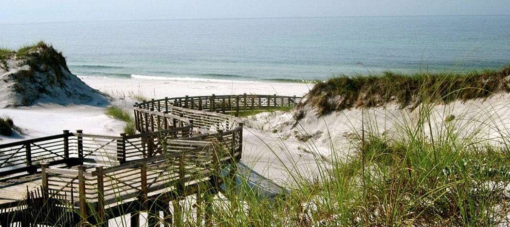 dunes and sea oats flank a boardwalk to the beach in WaterSound, FL